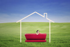 Dreaming of house outdoor Royalty Free Stock Photos