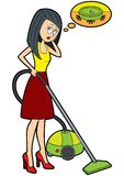 Dreaming housewife with a vacuum cleaner vector illustration