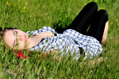 Dreaming In Grass Royalty Free Stock Photo