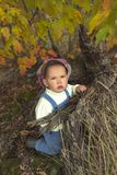 Little boy playing with leaves at autumn park. Royalty Free Stock Photo