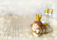 Dreaming little figurine of lying princess. Royalty Free Stock Image