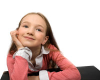 Dreaming little girl isolated Stock Photos