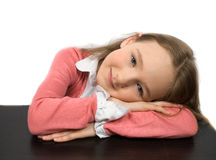 Dreaming little girl isolated Royalty Free Stock Photography