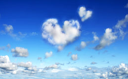 Dreaming about love. Abstract sky with clouds formed in heart shape Royalty Free Stock Photo
