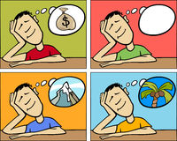 Dreaming man concept cartoon illustration Stock Photography