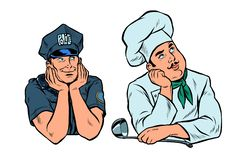 Dreaming man, policeman and cook set stock illustration