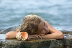 Dreaming mermaid Stock Images