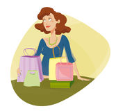 Dreaming mom. Dreaming woman with many bags Royalty Free Stock Photos