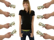 Dreaming about money. Happy girl standing with closed eyes and  imagine the heaps of money Stock Photos