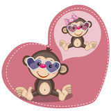 Dreaming Monkey. Greeting card Cute Dreaming Monkey stock illustration