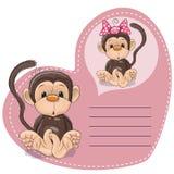 Dreaming Monkey. Greeting card Cute Dreaming Monkey royalty free illustration