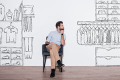 Dreaming about new wardrobe. Stock Photography