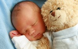 Dreaming newborn baby Royalty Free Stock Image