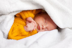 Dreaming newborn baby boy Royalty Free Stock Photos