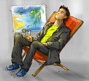 Dreaming office worker. Office worker dreaming of having a vacation on the sea shore. Ink drawing, colored Royalty Free Stock Images
