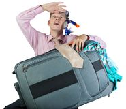 Dreaming office worker with travel bag Royalty Free Stock Photos