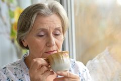 Dreaming older woman resting Stock Photography
