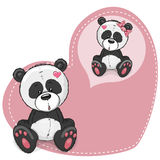 Dreaming Panda. Greeting card Cute Dreaming Panda on a heart background Stock Photo