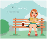 Dreaming and the pleasure of reading Royalty Free Stock Photos