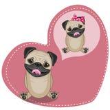 Dreaming Pug Dog. Greeting card Cute Dreaming Pug Dog Royalty Free Stock Photography