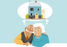 Dreaming of a retirement home. Elderly couple dreaming about a retirement cottage, EPS 8 vector illustration, no transparencies Stock Photography