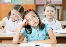 Dreaming schoolgirl Royalty Free Stock Images