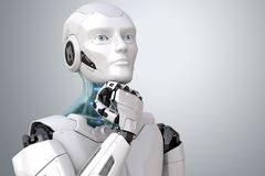Dreaming sci-fi robot. Dreaming robot. Clipping path included. 3D illustration royalty free illustration