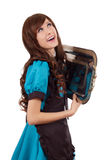 Dreaming servant girl with tray Royalty Free Stock Images