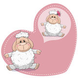 Dreaming sheep. Greeting card Cute Dreaming Sheep on a heart background royalty free illustration