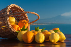 Dreaming of Sicily. Wicker basket full of lemons and oranges on a wooden table with mount Etna and blue sea in the background Royalty Free Stock Photography