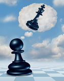 Dreaming Of Success. With a chess game pawn piece having aspirations of becoming a king and leader with a thought bubble made of clouds thinking for the future Royalty Free Stock Photos