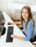Dreaming teenage girl with computer at home Royalty Free Stock Photography