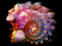 Dreaming Textures. Mind Spiral series. Surreal illustration made of female portrait and fractal elements on the subject of imagination, creativity, spirituality Stock Photography