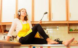 Dreaming thinking housewife at home Royalty Free Stock Photos