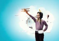 Dreaming to be pilot . Mixed media Stock Photos