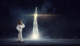 Dreaming to explore space . Mixed media Royalty Free Stock Photos