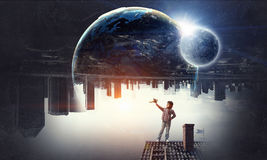 Dreaming to fly around the world . Mixed media Royalty Free Stock Photography