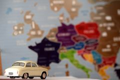Travel across europe. Dreaming about travelling through europe with use old car Royalty Free Stock Image