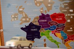 Travel across europe. Dreaming about travelling through europe with use old car Royalty Free Stock Photography