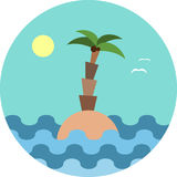Dreaming vacation: round emblem or logo with beach and palm. Vector illustration Stock Photography