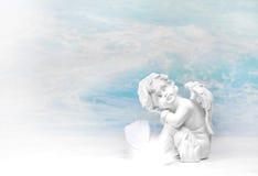 Dreaming white angel: condolence background. Stock Image