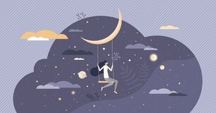 Free Dreaming With Sweet Night Dreams As Bedtime Relax Sleep Tiny Person Concept Royalty Free Stock Image - 213711506