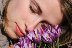 Dreaming woman. Woman dream in nature...crocus flowers royalty free stock photo