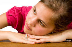 The dreaming woman with a pearl necklace Royalty Free Stock Image