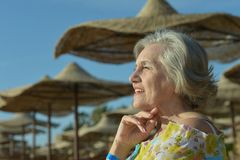 Dreaming woman at the resort Royalty Free Stock Photography