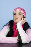 Dreaming woman in winter clothes Royalty Free Stock Photo