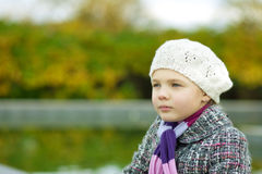 Dreaming young girl in white beret Stock Image