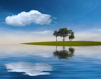 Dreamland. Some trees on a green island under the deep blue sky... and the reflecting water all around Royalty Free Stock Images