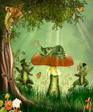 Dreamland. Fantasy scene with little dragons Royalty Free Stock Photo