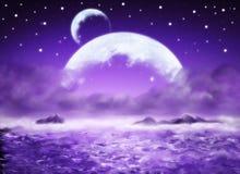 Dreamland. Big planet, purple water fantasy background, dreamland Stock Images